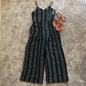 Karol Black Striped Sleeveless Culotte Jumpsuit